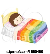 Girl Sleeping In Bed Under A Colorful Quilt