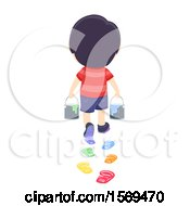 Rear View Of A Boy Carrying Plants And Leaving Colorful Foot Prints