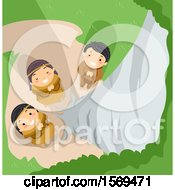 Clipart Of A Group Of Native American Children Praying To Tree Spirits At A Birch Royalty Free Vector Illustration