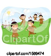 Clipart Of A Group Of Native American Children Playing Royalty Free Vector Illustration