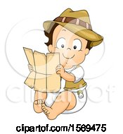 Clipart Of A Baby Boy Explorer Holding A Map Royalty Free Vector Illustration