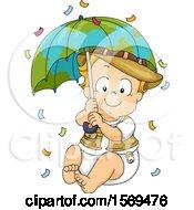 Baby Boy Explorer Holding A Globe Umbrella With Falling Confetti
