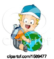 Poster, Art Print Of Baby Boy Hugging A Globe And Wearing A Backpack