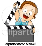 Clipart Of A Baby Boy Holding A Clapper Top Royalty Free Vector Illustration by BNP Design Studio