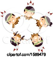 Clipart Of A Group Of Native American Children Holding Hands And Looking Up In A Circle Royalty Free Vector Illustration