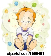 Clipart Of A Sick Toddler Boy Surrounded By Germs And Viruses Royalty Free Vector Illustration
