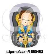 Clipart Of A Toddler Boy Sleeping In A Car Seat Royalty Free Vector Illustration