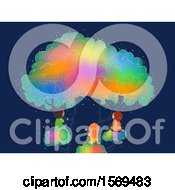 Clipart Of A Group Of Children On A Rainbow Tree Royalty Free Vector Illustration by BNP Design Studio
