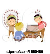 Clipart Of Native American Boys Showing A Caucasian Boy A Costume Royalty Free Vector Illustration