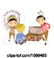 Native American Boys Showing A Caucasian Boy A Costume