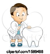Clipart Of A Toddler Boy Dentist Examining A Tooth Royalty Free Vector Illustration by BNP Design Studio