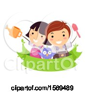 Clipart Of Children And An Owl Over A Banner With A Watering Can And Gardening Shovel Royalty Free Vector Illustration