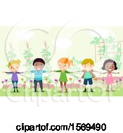 Clipart Of A Group Of Children Forming A Human Fence In The Garden Royalty Free Vector Illustration
