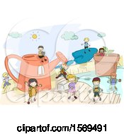 Clipart Of A Sketched Group Of Children With Giant Gardening Tools Royalty Free Vector Illustration