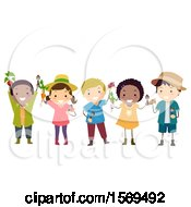 Clipart Of A Group Of Children With Gardening Tools And Harvested Produce Royalty Free Vector Illustration