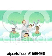 Clipart Of A Group Of Native American Children Playing In A Birch Tree Royalty Free Vector Illustration