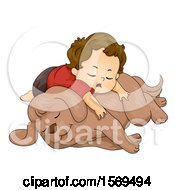 Clipart Of A Toddler Boy Sleeping On His Dog Royalty Free Vector Illustration
