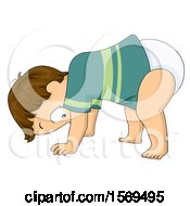 Clipart Of A Baby Boy Learning To Stand Up Royalty Free Vector Illustration
