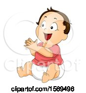 Poster, Art Print Of Happy Baby Boy Sitting And Clapping