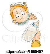 Clipart Of A Baby Boy Reaching Up For A Bottle Royalty Free Vector Illustration
