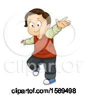 Clipart Of A Toddler Boy Holding His Arms Out To Balance Royalty Free Vector Illustration