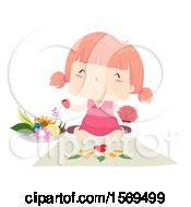 Clipart Of A Pink Haired Girl Creating Flower Art Royalty Free Vector Illustration