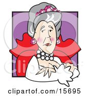 Proud Queen Wearing Pink Jewels In Her Hair Clipart Illustration
