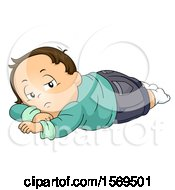 Clipart Of A Sick Toddler Boy Laying On Stomach Royalty Free Vector Illustration