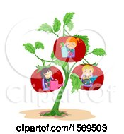 Clipart Of A Giant Tomato Plant With Children And Garden Tools In The Fruits Royalty Free Vector Illustration