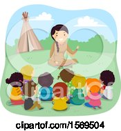 Clipart Of A Group Of Children Listening To A Native American Woman Telling A Story Royalty Free Vector Illustration