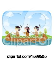 Clipart Of A Group Of Native American Children Rowing A Canoe Royalty Free Vector Illustration