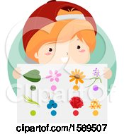 Clipart Of A Boy Holding Items On A Nature Color Hunt Sheet Royalty Free Vector Illustration by BNP Design Studio