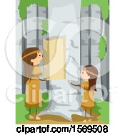 Clipart Of Native American Children Removing Birch Bark Royalty Free Vector Illustration