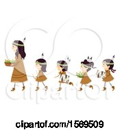 Clipart Of A Group Of Native American Girls Following A Woman With Bark Bow Drill And Corn Royalty Free Vector Illustration