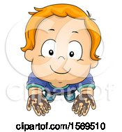 Clipart Of A Toddler Boy Holding Up Muddy Hands Royalty Free Vector Illustration by BNP Design Studio