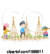 Clipart Of A Group Of Children Setting Up Garden Trellises Royalty Free Vector Illustration