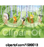 Clipart Of A Group Of Native American And Caucasian Children Going Hunting Royalty Free Vector Illustration