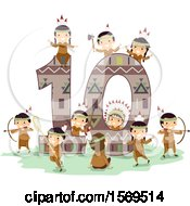 Clipart Of A Group Of Native American Children With The Number Ten Royalty Free Vector Illustration