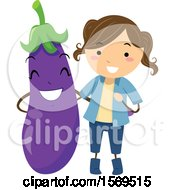 Clipart Of A Girl With An Eggplant Character Royalty Free Vector Illustration