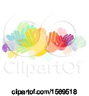 Clipart Of A Crowd Of Colorful Hands Royalty Free Vector Illustration by BNP Design Studio