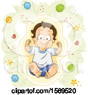 Clipart Of A Flexing Toddler Boy Surrounded By Bacteria Royalty Free Vector Illustration
