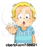 Clipart Of A Toddler Boy Saying Stop And Holding Out A Hand Royalty Free Vector Illustration