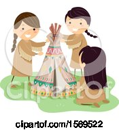Clipart Of A Group Of Native American Girls Making A Mini Teepee Royalty Free Vector Illustration