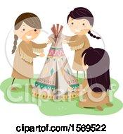 Group Of Native American Girls Making A Mini Teepee