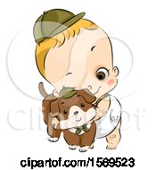 Baby Boy In A Scouts Hat Hugging A Dog