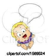 Poster, Art Print Of Baby Boy Talking And Looking Up