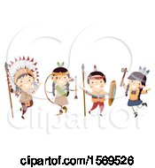 Clipart Of A Group Of Native American Children With Hunting Gear Royalty Free Vector Illustration