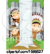 Clipart Of A Group Of Native American Children Hiding Behind A Birch Tree Royalty Free Vector Illustration