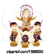 Clipart Of A Group Of Native American Children Sitting Around An Elder As He Tells A Story Royalty Free Vector Illustration