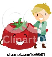 Boy With A Happy Tomato Character